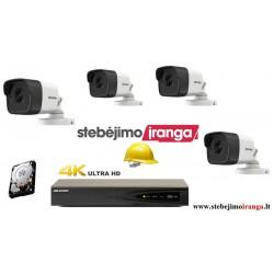 4 lauko/vidaus kamerų sistema 4MP